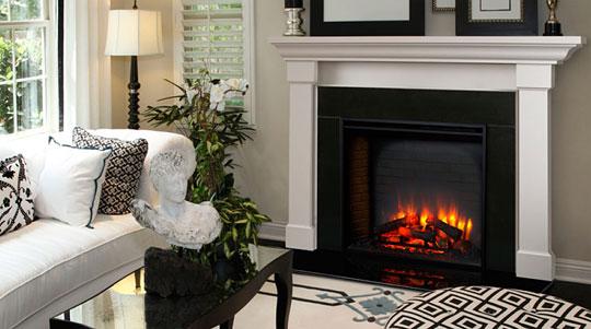 Idées déco : un salon avec cheminée électrique
